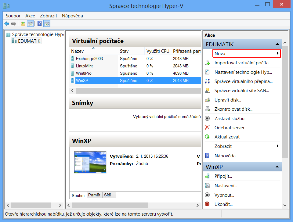 Správce technologie Hyper-V ve Windows 8
