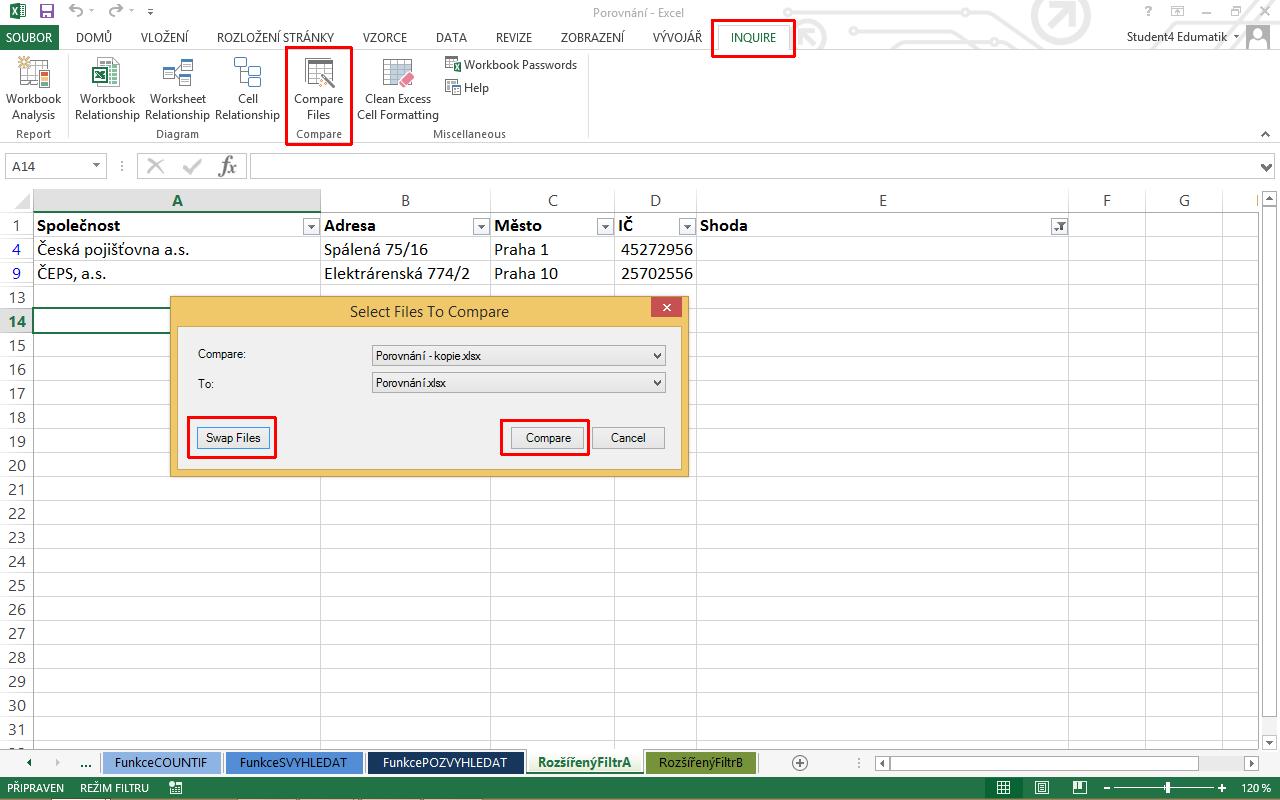 Jak Porovnat Data V Excelu A Najit Rozdily Edumatik Cz