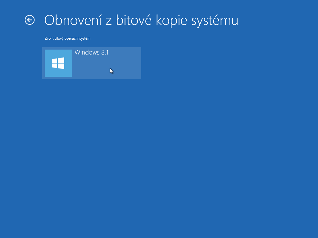 Windows 8.1 - obnova z bitové kopie